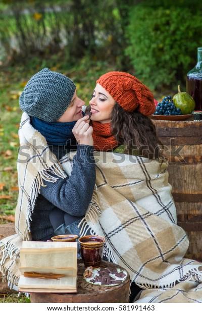 loving couple in autumn garden
