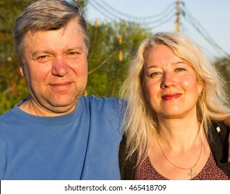 Loving Couple In Countryside