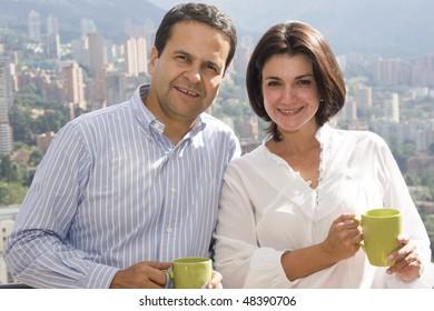 Loving couple drinking cafe