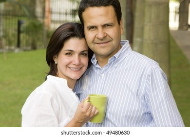 Loving couple drinking cafe outdoor