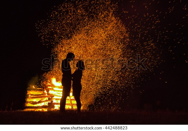 Loving Couple Fire Background Nice Wallpaper Stock Photo Edit Now