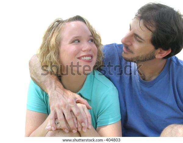 Loving couple gaze into each other's eyes