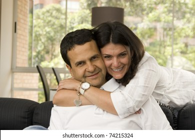 Loving Couple Having Fun Indoor