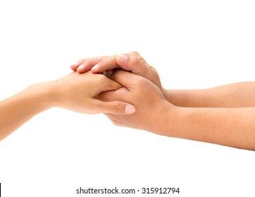 Loving couple holding hands on white background