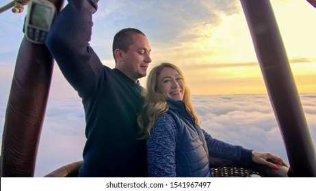 the loving couple in the hot air balloon