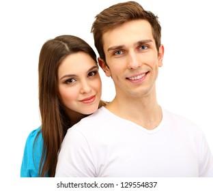Loving couple isolated on white