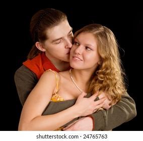 loving couple on black background
