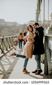 Loving couple on Chain bridge, Budapest, Hungary