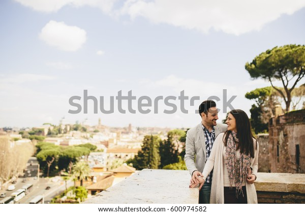 Loving couple in Rome , Italy