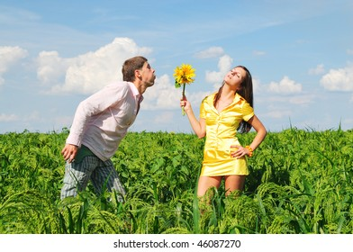 Loving couple spends time outdoors