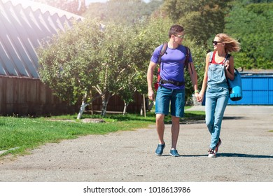 loving couple strolling on the city