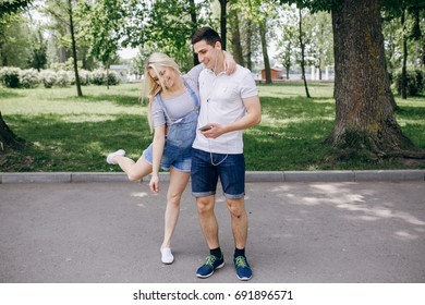 loving couple in the summer park