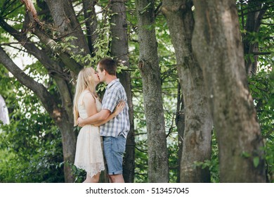 loving couple walking park, kissing HD