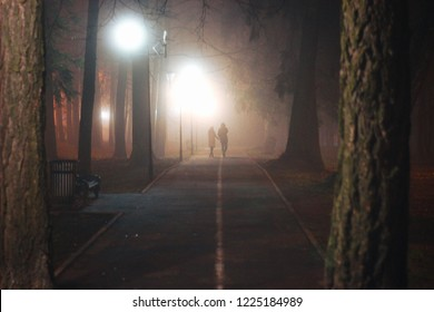 Loving couple walking through the night park in the fog