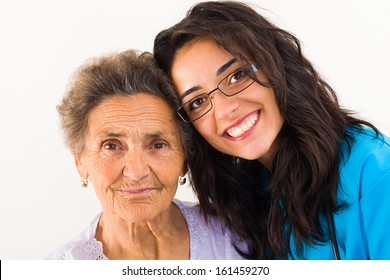 Loving family member doctor caring about elderly grandmother.
