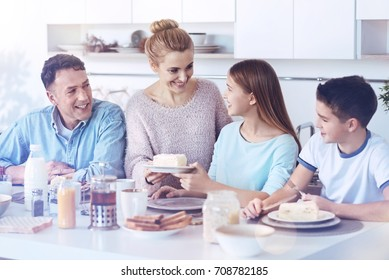 Loving family reuniting during delicious meal time