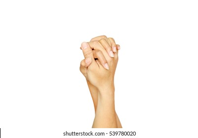 Loving hands clasped isolated on white background