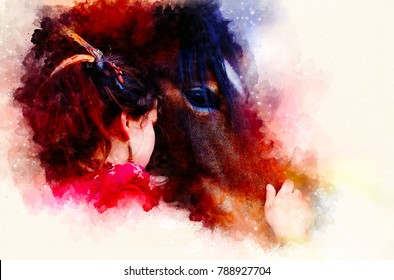 Loving horse and a girl, girl hugging a horse. Portrait woman and horse and softly blurred watercolor background.