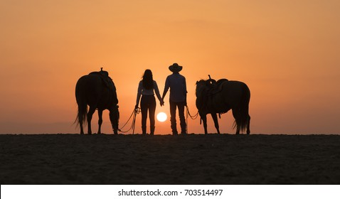 loving horse riders holding hands on the beach at sun set