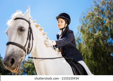 Loving horsewoman. Loving caring beautiful horsewoman petting her gentle white racing horse