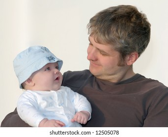 a loving look between father & son