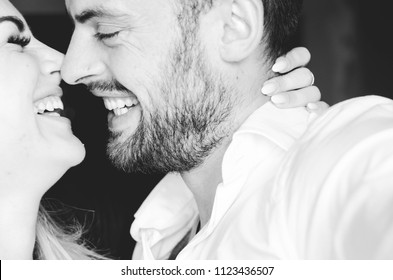 Loving man and woman, happy young sensual couple