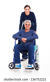 loving middle aged woman with disabled husband on white background