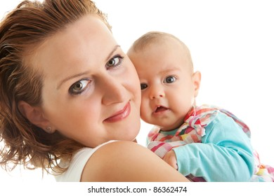Loving mother with cute little daughter