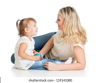 loving mother and her child on white background
