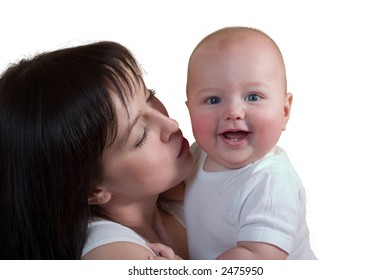 loving mother with her little cute son. Isolated on white background