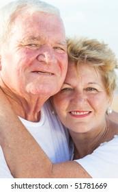 loving senior couple closeup