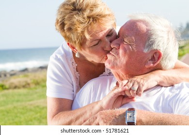 loving senior couple kissing