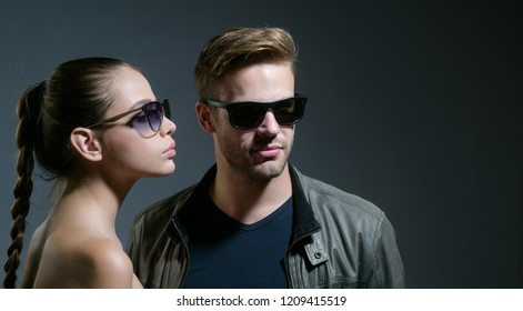 Loving their new style. Love relations. Fashion models in trendy sun glasses. Couple in love. Couple of man and woman wear fashion glasses. Friendship day. Friendship relations. Wearing eyeglasses.