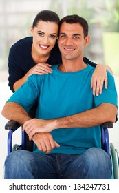 loving wife and handicapped husband at home