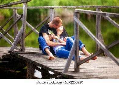 Loving young couple in park