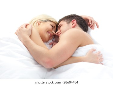 loving young Couple relaxing on bed