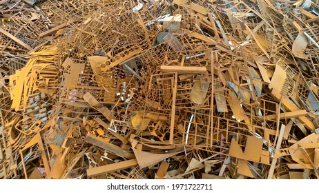 Low altitude aerial flight over scrap metal recyclable materials left over from product manufacturing and consumption the more frequently recycled metals are steel iron lead aluminium copper and zinc