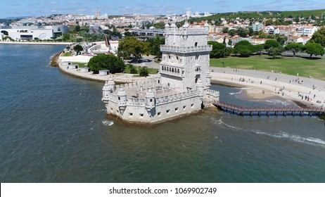 Low altitude aerial photo of Belem Tower in Portuguese Torre de Belem or the Tower of Saint Vincent is fortified tower located in the civil parish of Santa Maria de Belem in Lisbon Portugal
