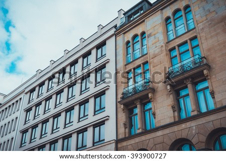 Low Angle Architectural Exterior Low Rise Stock Photo (Edit Now