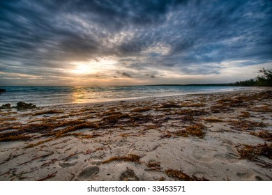 Low angle beach with sunset.