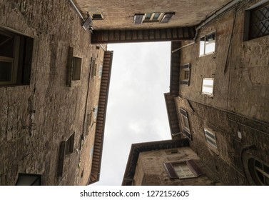 Low angle of a building facade in Perugia - Italy