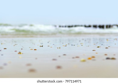 low angle coastal beach scenery at the North Sea near Domburg in Walcheren in the dutch province of Zeeland
