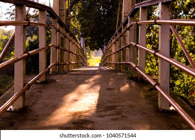 Low Angle Of A Crossing Bridge In A Park