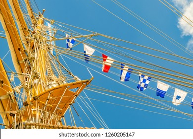 Low angle detail view sailing ship naval school masts.