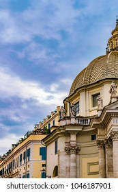 Low angle detail view of Santa Maria in Montesanto cruch at piazza del popolo, Rome, Italy