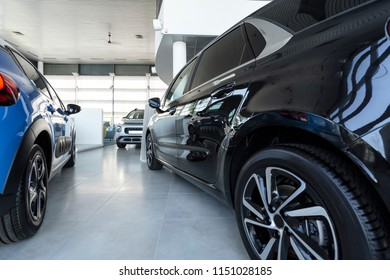 Low angle of expensive cars in luxury store with vehicles for sale and rent