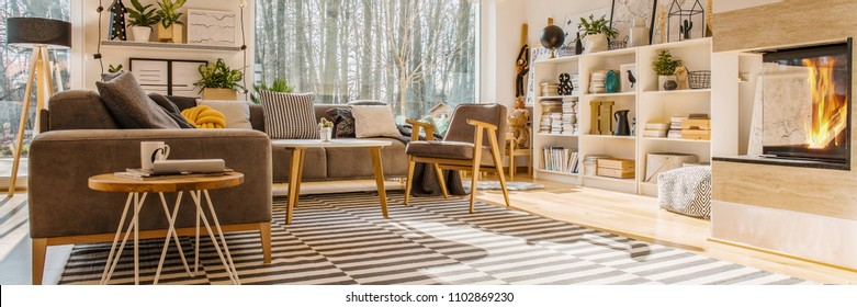 Low angle of a modern living room interior with a corner sofa, bookshelf, window, striped rug and fireplace