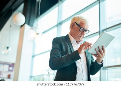 Low angle portrait of contemporary senior man using digital tablet and browsing internet while standing against window, copy space