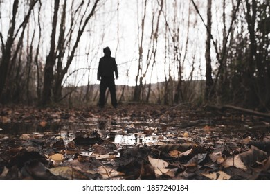 A low angle, shallow depth of field of a spooky blurred hooded figure. Standing on the edge of woodland.