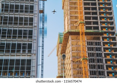 Low angle shooting of modern urban construction sites in Wuhan China